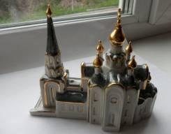"""Церковь храм """"Золотые купола"""" Ручная работа. Фарфор. Оригинал"""