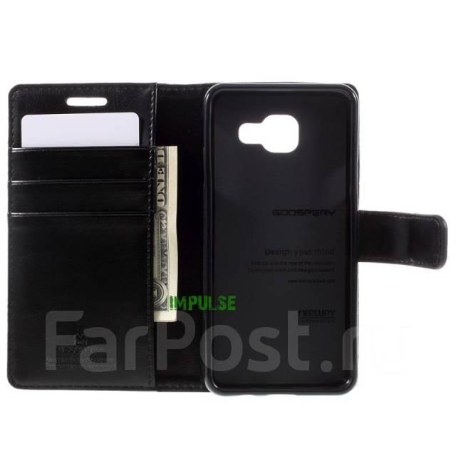 Кожаный чехол-книга с магнитной застежкой Mercury Goospery для Samsung Galaxy A3 2016 Черный