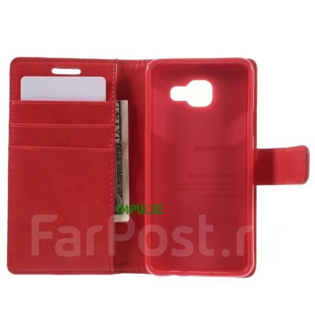 Кожаный чехол-книга с магнитной застежкой Mercury Goospery для Samsung Galaxy A3 2016 Красный