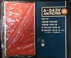 Фильтр воздушный VIC A-243V(AY120NS001) Nissan, Subaru. В наличии! 16546-74S00, 16546-V0100, 16546-V0110, A-243V, AY120NS001