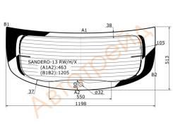 Стекло заднее с обогревом RENAULT SANDERO II 2013-