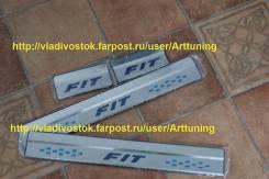 Алюминиевые порожки fit для Honda Fit gk 2014 синяя надпись. Honda Fit, GK3, GK5, GK4, GK6