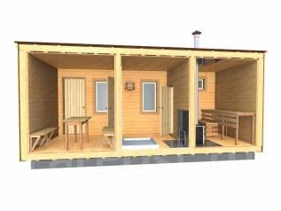 Баня модульная деревянная с печью. до 100 кв. м., 1 этаж, 3 комнаты, каркас