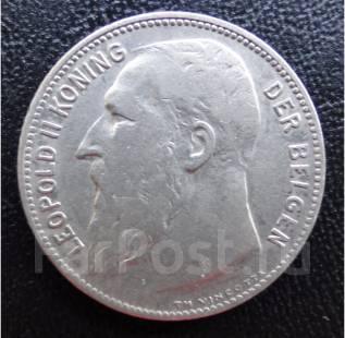 1 франк.1909г. Бельгия. Леопольд II. Серебро. XF+.