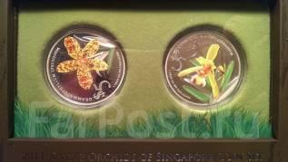 Набор монет Сингапура, серия орхидеи 2011.
