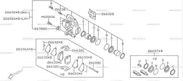 Колодка тормозная. Subaru Impreza WRX, GGB, GF8LD3, GDA, GF8, GDB, GC8LD3, GC8, GG, GGA, GD Subaru Impreza WRX STI, GD, GC8, GGB, GF8, GDB Subaru Impr...