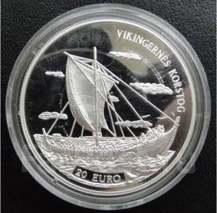 20 евро.1997г. Дания. Корабль викингов. Серебро. RARE. Proof.