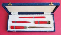 Старинный письменныи набор из 4-х предметов в коробке. Нач. 1900-х гг. Оригинал