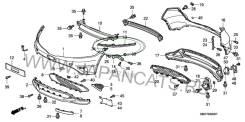Кронштейн крепления бампера. Honda Civic Двигатели: L13A7, N22A2, L13Z1, R18A2, K20Z4