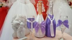 Оформление свадебных бутылок и бокалов. Под заказ