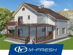 M-fresh Present! (Проект 2-этажного дома с накрытой террасой! ). 200-300 кв. м., 2 этажа, 5 комнат, бетон