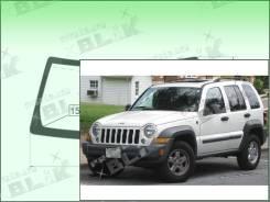 Лобовое стекло Jeep LIBERTY 2001-2007 (KJ) пятак-зерк (Зеленоватый оттенок с зеленым козырьком, Бренд:ВSG)
