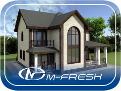 M-fresh Fazenda (Проект красивого дома с витражом! Посмотрите! ). 200-300 кв. м., 2 этажа, 5 комнат, бетон