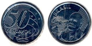 Бразилия 50 сентаво 2005-2009 гг.