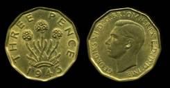 Великобритания 3 пенса 1943 год (иностранные монеты)