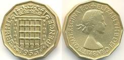 Великобритания 3 пенса 1960 год (иностранные монеты)