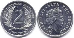 Восточные Карибы - 2 цента 2004 год (иностранные монеты)