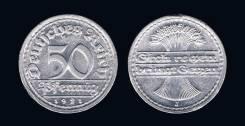 Германия 50 пфеннигов 1920 год (иностранные монеты)