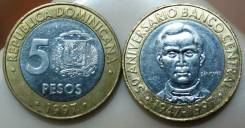 Доминиканская республика 5 песо 1997 (иностранные монеты)