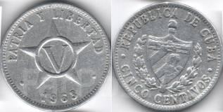Куба 5 сентаво 1963 год (иностранные монеты)