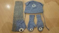 Шапка, шарф и варежки. Рост: 80-86, 86-98 см
