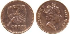 Фиджи 2 цента 1973 год (иностранные монеты)