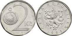 Чехия 2 кроны 1993 год (иностранные монеты)