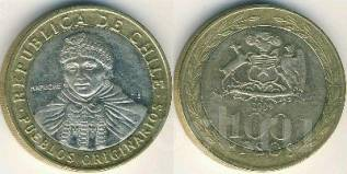 Чили 100 песо 2009 год (иностранные монеты)