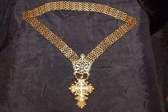 Старинный серебряный наперсный крест с украшениями. Россия, 1893 г. Оригинал