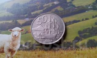 Новая Зеландия. 50 центов 1967 г. Флот. Большая красивая монета!