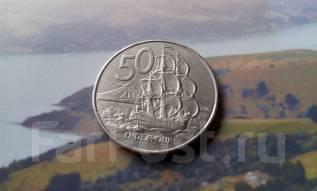 Новая Зеландия. 50 центов 1987 г. Флот. Большая красивая монета!