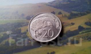 Новая Зеландия. 20 центов 1975 г. Киви. Большая красивая монета!