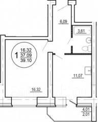 1-комнатная, улица Трёхгорная 63. Краснофлотский, агентство, 39 кв.м.