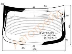 Стекло заднее (крышка багажника) с обогревом INFINITI Q50 4D SEDAN 2014- NIV37RW,H,X