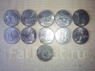 11 монет 25 центов США штаты