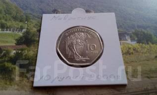 Маврикий. 10 рупий 2000 года. Большая красивая монета! Интересная фор