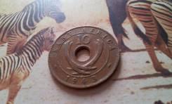 Экзотика. Восточная Африка. Редкие 10 центов 1943 года. Большая красив