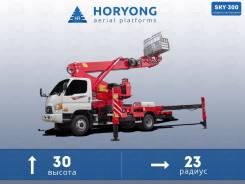 Horyong Sky. Автовышка на шасси Hyundai, вылет 30 м. горизонт 23 м., 3 990 куб. см., 30 м. Под заказ