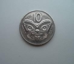 Новая Зеландия, 10 центов 1982 - маска Маори
