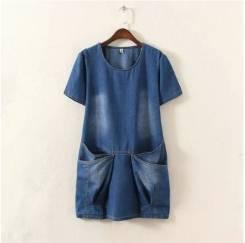 Оригинальность и стиль: Джинсовое платье туника. 52, 54, 56, 58