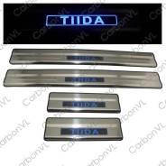 Накладка на порог. Nissan Tiida, C11, JC11, NC11