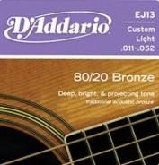 EJ13 Bronze 80/20 Струны для акустической гитары Custom Light 11-52