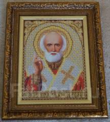 Икона Николай Чудотворец ручная работа вышита из ювелирного бисера