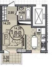 1-комнатная. агентство, 29 кв.м.