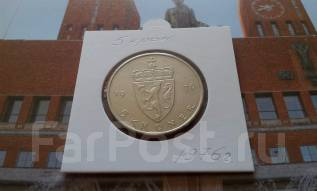 Норвегия. 5 крон 1976 года. Улан V. Большая красивая монета!