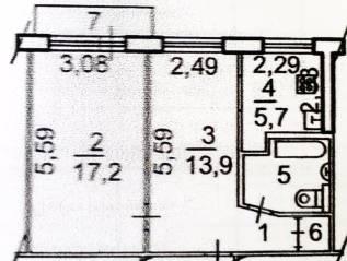 2-комнатная, улица Амурская 18. Первая речка, частное лицо, 44 кв.м. План квартиры