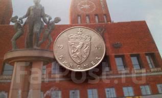 Норвегия. 5 крон 1977 года. Большая красивая монета!