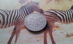 Экзотика! Бельгийское Конго! Редкие 50 сентимов 1926 года. Пальма!