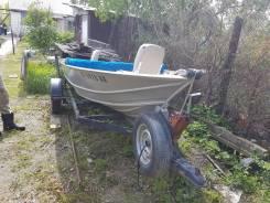 Продам алюминиевую лодку. длина 4,27м., двигатель подвесной, 15,00л.с., бензин. Под заказ