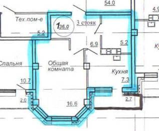 1-комнатная, улица Салтыкова-Щедрина 1. Краснофлотский, агентство, 36 кв.м.